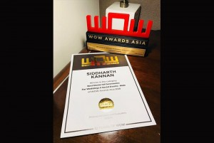 Best Master of Ceremonies award for Wedding & Social events at the Wow Awards Asia